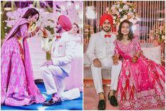 Neha Kakkar and Rohanpreet Singh Night Wedding Ceremony, Diy Photo Booth Backdrop, Blue Neon Lights, Blue Tuxedos, Punjabi Couple, Neha Kakkar, Cute Cartoon Pictures, Bridal Stores, Bride Makeup