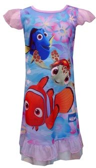 Disney Pixar Finding Nemo Toddler Nightgown  Perfect for your Nemo fan! These flame resistant nightgowns for toddler girls feature Nemo, Dory and Squirt from the Finding Nemo movie. Pretty sheer ruffle detailing on the sleeves and botton hem make these sure to please any little Nemo fan! Machine wash in a lingerie bag due to the delicate nature of sleeves and ruffle hem. $17