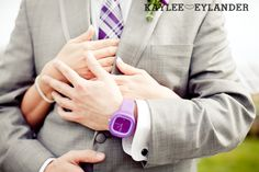 Kaylee Eylander Photography | Purple and grey wedding, honestly I love the purple watch I love that he is wearing it!