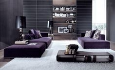 I love the eggplant furniture and the overlook look of this living room.