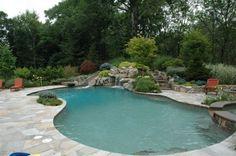 freeform pool with slide
