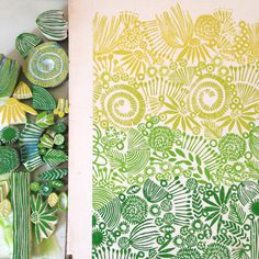 green stamps used to create an awesome pattern. More