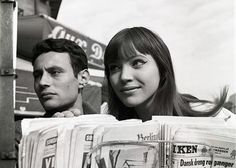 Anna Karina and Michel Subor on the set of Le Petit Soldat. Photographed by…