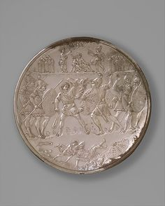 Plate with the Battle of David and Goliath  Date: 629–630 Geography: Made in, Constantinople Culture: Byzantine Medium: Silver