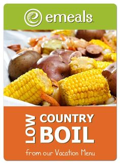 Low country boil- a fun  easy meal w/ shrimp, potatoes, corn, sausage,  butter. deliciously-dinner