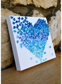 Manualidad, corazón de mariposas, gift, cuadro