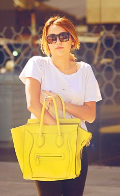 neon yellow Celine bag. to die for.
