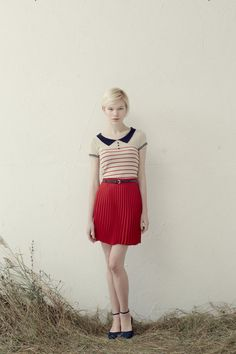 fashion, red skirt, stripes, style, collar, retro, outfit, summer, spring