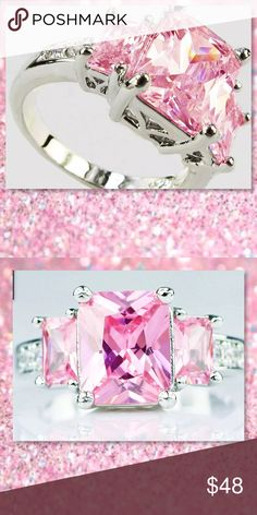 JUST IN🆕Pink Topaz White Gold Filled Ring New Pink Topaz and White Gold Filled Ring Color: Silver and Pink Condition: Brand new Cut: AAA Clear Ring Size: 7 Gem Size: 10 mm*10 mm Metal: White Gold Filled  ⭐️⭐️SORRY NO TRADES AND LOWBALL OFFERS WILL BE IGNORED ⭐️⭐️  ✂️LOWBALL OFFERS WILL BE IGNORED✂️ Glam Squad 2 You Jewelry Rings