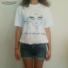 New Women Tshirt 18 Style Smoking Alien Print Funny Casual ET T-shirt For Lady White Plus Size Top Tees Hipster #Cheap #Tees