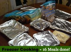 Freezer cooking session - 16 meals done, complete with instructions and recipes