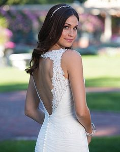 Available at Adore Bridal Boutique! www.adorebridalga.com Style 3929: V-Neck Tulle Mermaid with Keyhole Back   Sincerity Bridal