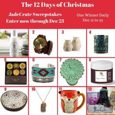 Check out these great sweepstakes hosted by JadeCrate - 12 Days of Prizes
