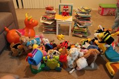 Reading books to a room full of toys!