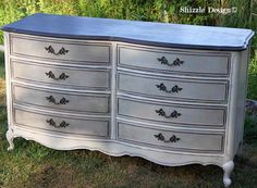 French Provencial dresser painted taupe, white, chalk, clay paints Shizzle Design furniture ideas american paint company Rushmore Home Plate 1 Repainting Furniture, Chalk Paint Furniture, Refurbished Furniture, Furniture Makeover, Repurposed Furniture, Baby Room Furniture, White Furniture, Diy Furniture, Furniture Design