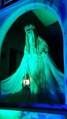 Lady in White Halloween night display