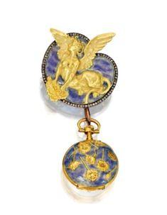 lalique1. René Lalique. 18 karat gold, diamond and enamel brooch and pendant-watch 1893
