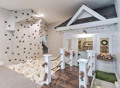 Indoor Mini House with Mini Rock Climbing Wall by Ashley Webb Interiors This is. - Indoor Mini House with Mini Rock Climbing Wall by Ashley Webb Interiors This is such a fun idea fo -