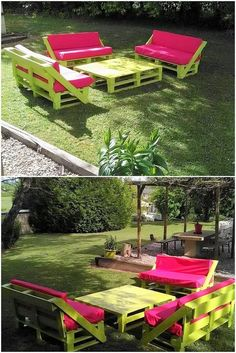 Having an outdoor furniture in the garden had always given the house garden with the attractive and inspiring sort of impressions. This one such wood pallet outdoor furniture designing idea is a perfect example for you. This whole furniture set is designed in a majestic and artistic concepts with the couch set and a simple furnishing of the center table.