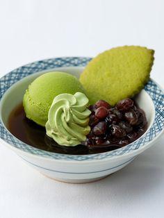 Hojicha (Roasted Tea) Jelly with Matcha Ice Cream ほうじ茶ゼリー