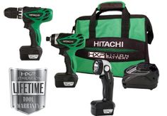 Factory-Reconditioned: Hitachi KC10DFL 12-Volt Peak 3-Tool Li-Ion Combo Kit with Carrying Bag. Since its inception, Hitachi has pioneered innovative technologies that have improved the quality of craftsmanship worldwide. The Impact Driver delivers 840-inches per pound of driving torque and uses a Lithium-Ion battery for steady, long-lasting power. 00923015^10.8v, 10.8volt, 2pc Combo, 306199^kc10dfl. The Hitachi KC10DFL Lithium-Ion Cordless 12-Volt Micro Driver Drill and Impact...