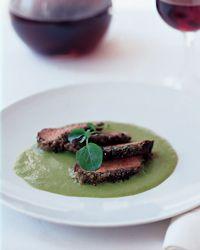 Lamb Marinated in Jasmine Tea with Sweet Pea Sauce Recipe on Food & Wine