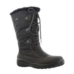 Skøn foeret støvle i sort skind og sort nylon med GaborTex. Lyse syninger. Pyntesnøre foran.Støvlen har udtagelig sål. Kile 2 cm og vidde G.