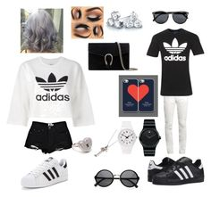 """Couple outfit 2"" by littlebeautyme ❤ liked on Polyvore featuring Boohoo, adidas Originals, Swatch, Movado, Yves Saint Laurent, Topman, Gucci, Metal Couture and Suzy Levian"