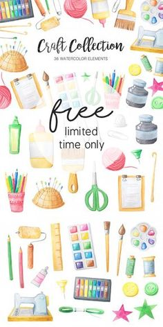 Free Watercolor Craft Collection + New Free Font - Limited Time Only! - Free Pretty Things For You Watercolor Books, Watercolor Stickers, Free Flower Clipart, Free Clipart Images, Decoupage, Paper Crafts, Diy Crafts, Craft Free, Free Graphics