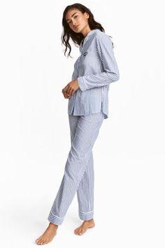 Ensemble de pyjama - Bleu foncé/blanc/rayé - FEMME | H&M FR 1