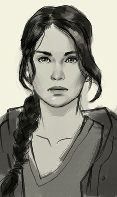 Katniss Everdeen -I love the style of this painting, the shading, the technique reminds me of a water painting the brush strokes. I just love it!