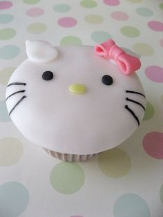 My kind of girly party cupcakes. Because who doesn't love Hello Kitty? Torta Hello Kitty, Hello Kitty Cupcakes, Cat Cupcakes, Hello Kitty Birthday, Love Cupcakes, Yummy Cupcakes, Cupcake Cookies, Ladybug Cupcakes, Snowman Cupcakes