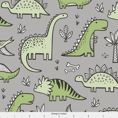 Dino Fabric Dinosaurs In Green On Grey By Caja от Spoonflower