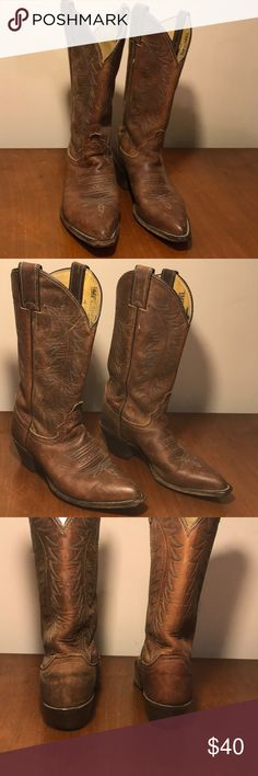 Justin's Tan Tall Cowboy Boots Size 6 These are a pair of imperfect Justin's size 6 Brown Cowboy Boots. These come up to about mid calf. Bought for myself but they rub my ankle funny so I'm selling them for cheap! Justin Boots Shoes Heeled Boots