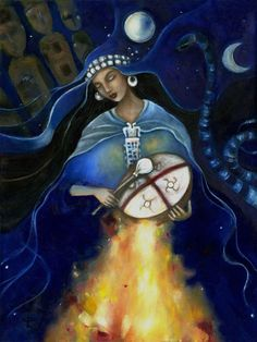 Kuyén Goddess of the Mapuche art on canvas Ancestor Altar Goddess Art, Moon Goddess, Native Art, Native American Art, Arte Latina, Shaman Woman, Sacred Feminine, Tambour, Past Life