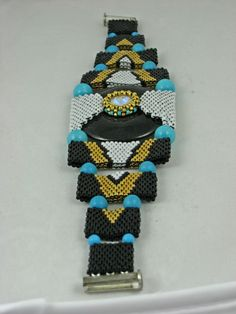 Beaded Art Deco bracelet by Bonnie Van Hall.  http://bonnievanhall.com/catalog/index.php?cPath=23