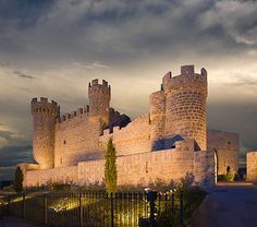 CASTLES OF SPAIN - Olmillos de Sasamón Castle, Burgos. Built in 1440 by don Pedro de Cartagena, and was conceived as a fortified palace. It also belonged to the Cartagenas in the 15th and 16th centuries, to the Viscounts of Valoria in the 17th and 18th centuries and to the Dukes of Gor in the 19th century.The castle has a double enclousre. The outer one nearly disappeared and the inner one is defended by cyclindrical towers. Currently the castle is in private hands and it is used as a hotel.