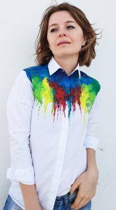 Dye T Shirt, Fabric Painting, Dress Codes, Fitness Fashion, Blouses For Women, Colorful Shirts, Button Up Shirts, Creativity, Kawaii