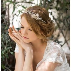 Bridal crown, wedding tiara, pearl headband, bride hair accessories,... ($265) ❤ liked on Polyvore featuring accessories, hair accessories, hair, floral garland, floral headband, bridal hair accessories, floral crown headband and flower crown