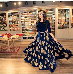 Navy blue and gold lehenga
