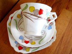 Art Deco / Vintage China Tea Set Trio.Standard China.British. #Teacupsaucerandteaplate