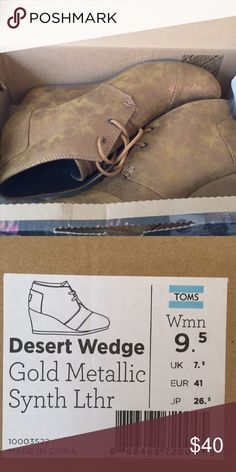 5c988072a44 Toms Desert Wedge - Gold Metallic - Never worn - New in box - Toms Desert  Wedge in Gold Metallic made from synthetic leather - Women s size Toms  Shoes ...