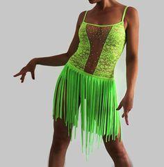 Latin Salsa Performance Dance dress Green neon Show Go-Go dancing Costume