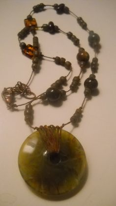 Olive Green Vintage Marbled Lucite Donut with Indonesian Glass Beads