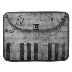 Cool antique grunge effect piano music notes MacBook pro sleeve