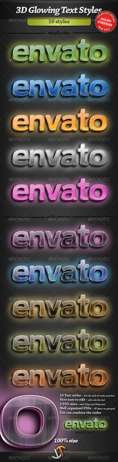 3D Glowing Text Styles