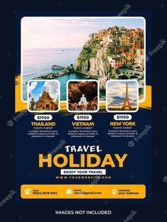 Download this Travel holiday flyer design Premium Psd, and discover more than 17 Million Professional Graphic Resources on Freepik. #freepik #vector #travel #flyer #travelflyer