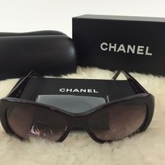 Purple charms Chanel sunniesHP Purple sunnies! Chanel sunglasses that are lightly worn. Charm details on the side. Comes with case, box, authenticity card, and lens cloth as pictured. Minor scratches and damage to the case. CHANEL Accessories Sunglasses