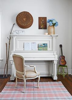 Coined by paint maven Annie Sloan in the 1990s, the term Chalk Paint has become synonymous with paints with a matte—almost chalky—look. The thick finish gives pieces both old (like the passed-down piano shown here) and new a timeworn look.