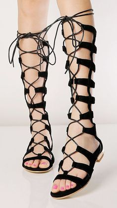 Black Suede Knee High Lace-up Gladiator Sandals